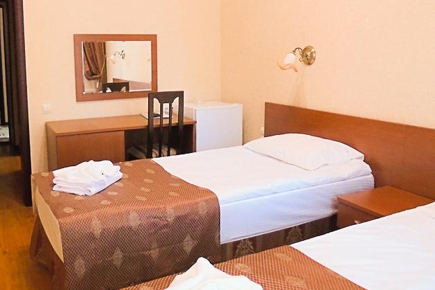 Фотография кроватей с зеркалом двухместного номера 1 категории