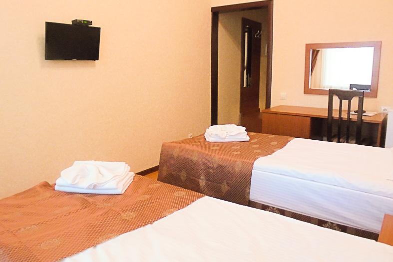 Фотография кроватей и двери двухместного номера 1 категории